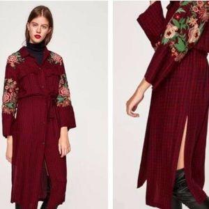NWT! ZARA WOMAN BUFFALO PLAID EMBROIDERED DRESS